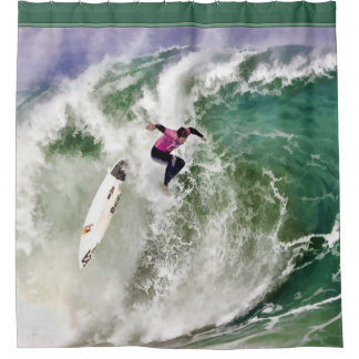 Surfing Wipeout in Stormy Ocean Shower Curtain