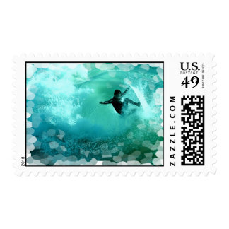 Surfing Wipeout Postage Stamp