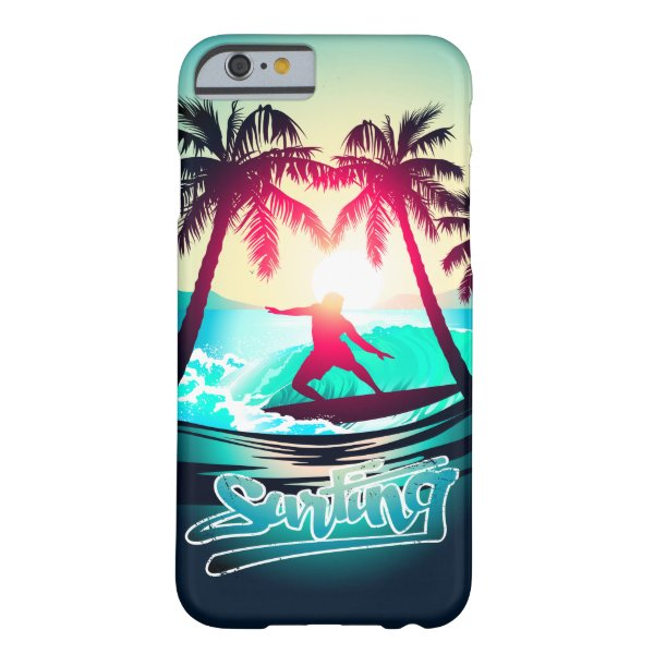 Surfing with palm trees barely there iPhone 6 case
