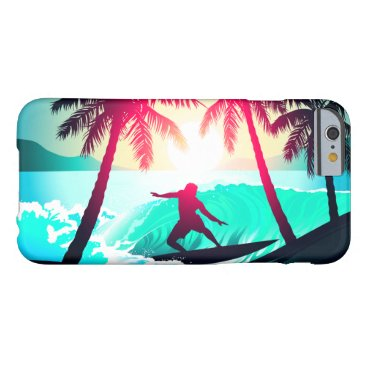 Beach Themed Surfing with palm trees barely there iPhone 6 case