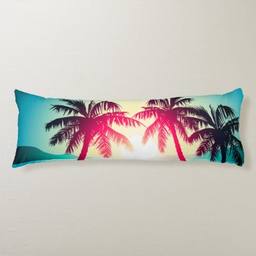 Surfing with palm trees body pillow