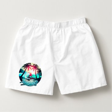 Surfing with palm trees boxers