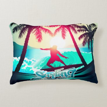 Beach Themed Surfing with palm trees decorative pillow