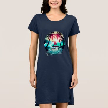 Beach Themed Surfing with palm trees dress