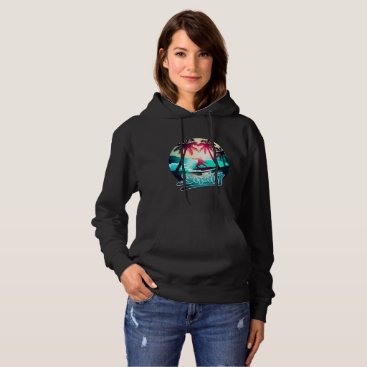Beach Themed Surfing with palm trees hoodie