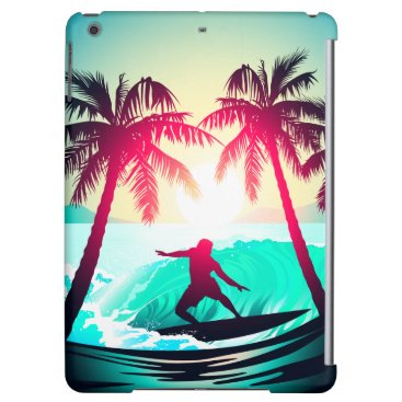 Beach Themed Surfing with palm trees iPad air cover