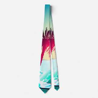 Surfing with palm trees neck tie