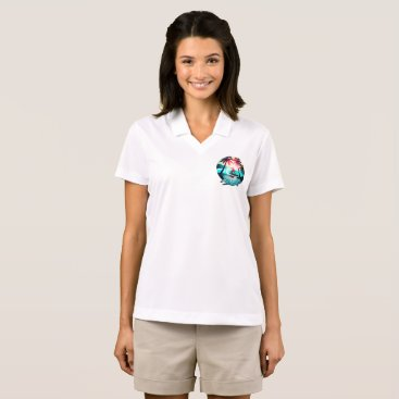 Beach Themed Surfing with palm trees polo shirt