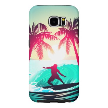 Beach Themed Surfing with palm trees samsung galaxy s6 case