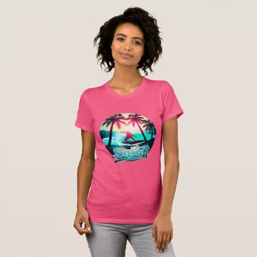 Beach Themed Surfing with palm trees T-Shirt