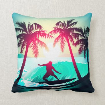 Beach Themed Surfing with palm trees throw pillow