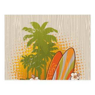 Surfing Woodgrain Design Postcard