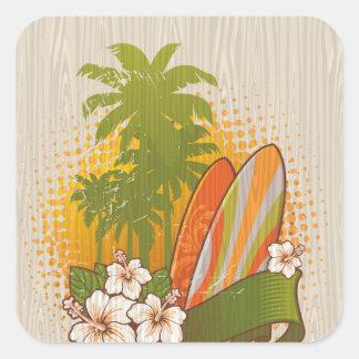 Surfing Woodgrain Design Square Sticker