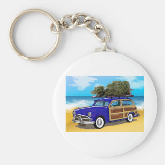 Surfing Woodie with Christmas Tree Basic Round Button Keychain