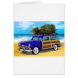 Surfing Woodie with Christmas Tree Stationery Note Card