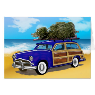 Surfing Woodie with Christmas Tree Card