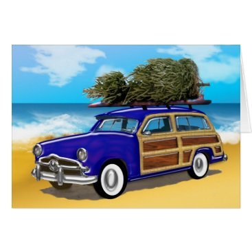 Christmas Themed Surfing Woodie with Christmas Tree Card