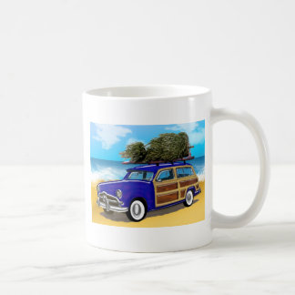 Surfing Woodie with Christmas Tree Classic White Coffee Mug