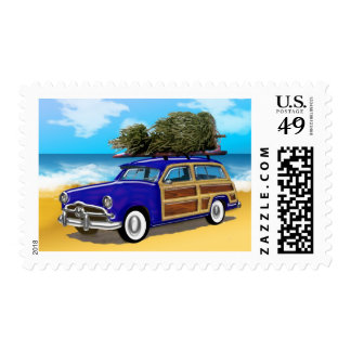 Surfing Woodie with Christmas Tree Postage
