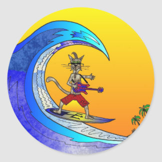 surfingTomCat1 Pegatinas Redondas