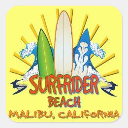 Surfrider Beach, Malibu, California Square Sticker