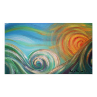 Surfs Up at Sun Down Poster