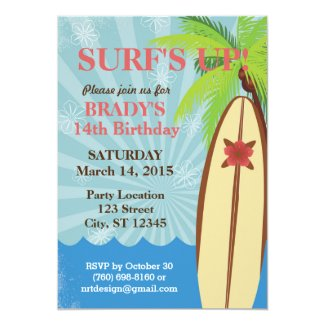 "Surf's Up Beach Party 5"" x 7"" Invitation"