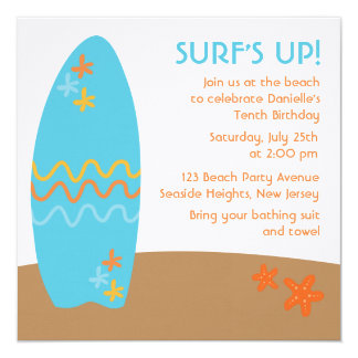 Surf's Up! Beach Party Invitations