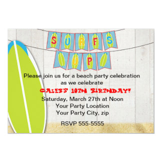 "Surfs up Beach Party Surfboard Surfing Invitation 5"" X 7"" Invitation Card"