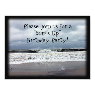 """""""Surf's Up"""" Birthday Party 6.5x8.75 Paper Invitation Card"""