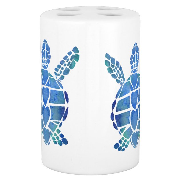 Turtle Bathroom Sets Surf's Up Blue sea turtle ceramics Bath Set   Zazzle