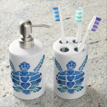 Surf's Up Blue sea turtle ceramics Bath Set