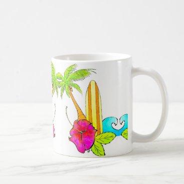 Coffee Themed Surfs Up Classic Coffee Mug Tropical Vibes