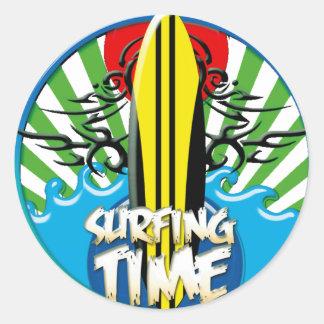 surf's up classic round sticker