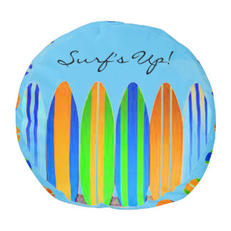 SURF'S UP COLORFUL BEACH POUF! ROUND POUF