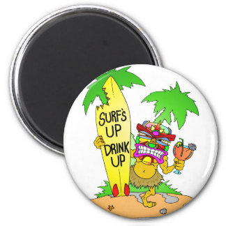 Surfs Up Drink Up 2 Inch Round Magnet