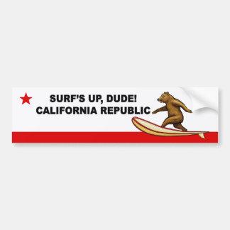 Surfs Up Dude California Bumper Stickers
