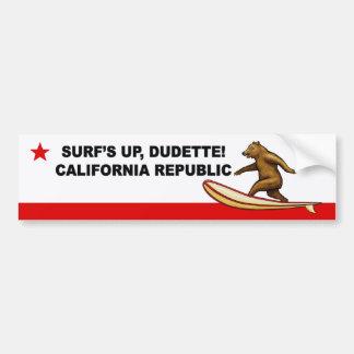 Surfs Up Dudette California Bumper Stickers