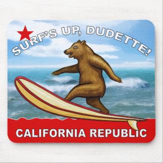 Surfs Up Dudette California Mousepads