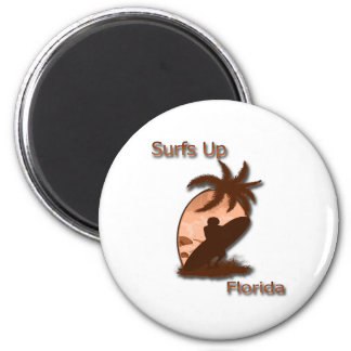 Surfs Up Florida 2 Inch Round Magnet
