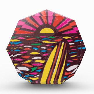 Surfs Up Folk Art Seascape Surfer Abstract Award