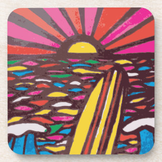 Surfs Up Folk Art Seascape Surfer Abstract Beverage Coaster