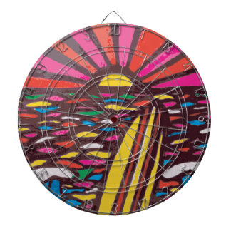 Surfs Up Folk Art Seascape Surfer Abstract Dartboards