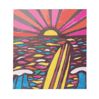 Surfs Up Folk Art Seascape Surfer Abstract Notepad