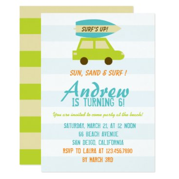 Beach Themed Surf's Up/Green and Blue Stripes/Birthday Party Card