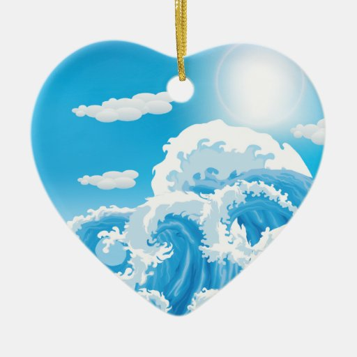 Surf's Up Heart Double-Sided Heart Ceramic Christmas Ornament