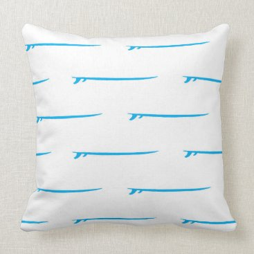 Toddler & Baby themed Surf's Up! Large Blue Boards/White Background Throw Pillow