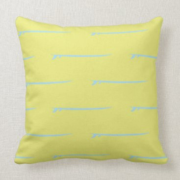 Beach Themed Surf's Up! Large Blue Boards/Yellow Background Throw Pillow