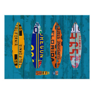 Surf's Up License Plate Art Poster