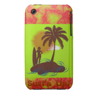Surf's Up Lime and Hot Pink Marble Surfer Girl Isl iPhone 3 Case